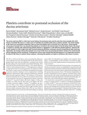 Platelets contribute to postnatal occlusion of the ductus arteriosus