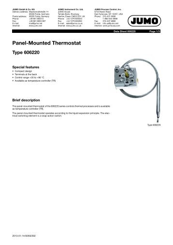 Panel-Mounted Thermostat Type 606220 - Digitrol