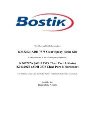 K343202 ADH 7575 Clear Kit - Cover Sheet - MSDS - Bostik, Inc
