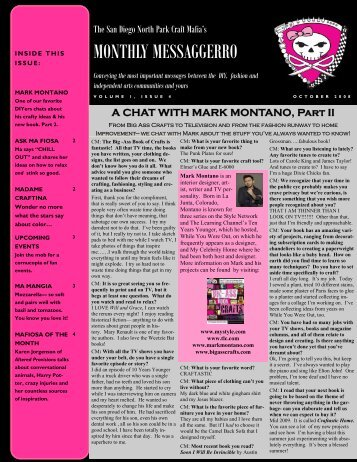 Mafia Newsletter October - The San Diego North Park Craft Mafia!!