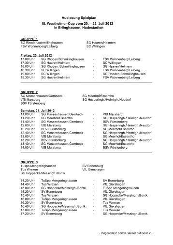 Auslosung Spielplan 18. Westheimer-Cup vom 20. – 22. Juli 2012 in ...