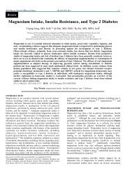 Magnesium Intake, Insulin Resistance, and Type 2 Diabetes
