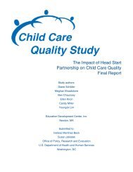 The impact of Head Start partnership on child care quality: Final report