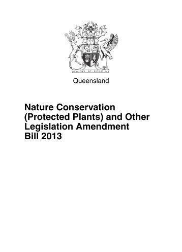 (Protected Plants) and Other Legislation Amendment Bill 2013