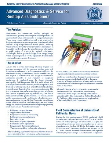 Advanced Diagnostics and Service for Rooftop Air Conditioners