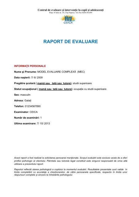 Raport chestionare parinti