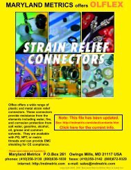 OLFLEX Strain Relief Products Catalog. - Maryland Metrics