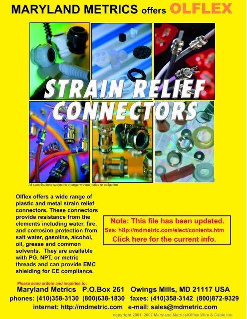 OLFLEX Strain Relief Products Catalog. - Maryland Metrics