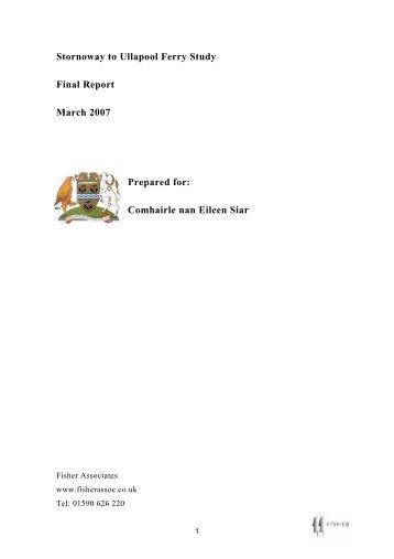 Stornoway-Ullapool Ferry Study - Comhairle nan Eilean Siar