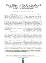 Effect of Phlebotomy on Motor UPDRS Score, Pain and Medication ...