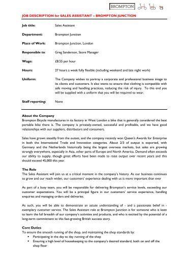 job description – assistant financial accountant   ppljob description for sales assistant – brompton