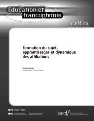 Formation du sujet, apprentissages et dynamique des affiliations