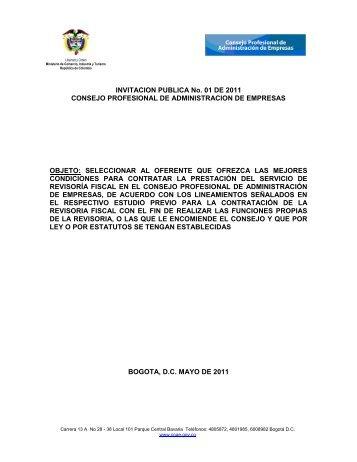 INVITACION PUBLICA No. 01 DE 2011 CONSEJO PROFESIONAL ...