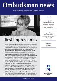 Ombudsman News Issue 85 - Financial Ombudsman Service