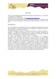 TECNOLOGIAS ORGANIZACIONALES ASOCIATIVAS. EL ... - ASET