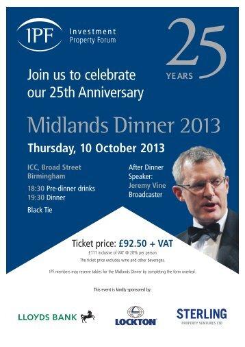 Midlands Dinner 2013 - Investment Property Forum