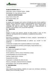 PLANO DE ENSINO 2011-2 DISCIPLINA: Leitura e Produção Textual