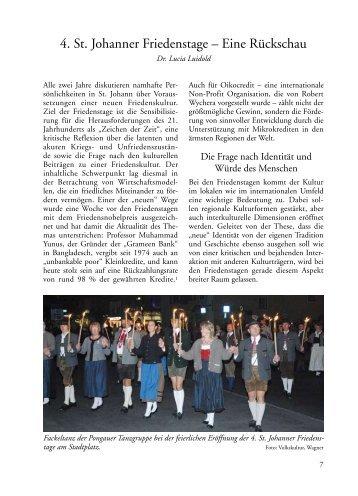 4. St. Johanner Friedenstage – Eine Rückschau - Salzburger ...