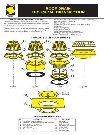 Technical Data For Roof Drains   Jay R. Smith MFG Co.