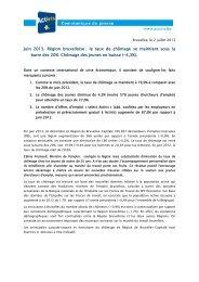 Juin 2013. Région bruxelloise : le taux de chômage se ... - Actiris