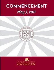 Commencement Program - University of Minnesota, Crookston