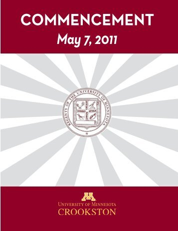 Commencement Program - University of Minnesota, Crookston