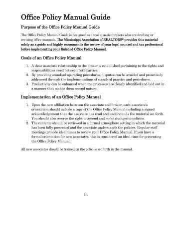 Office Policy Manual Guide - Mississippi Association of REALTORS
