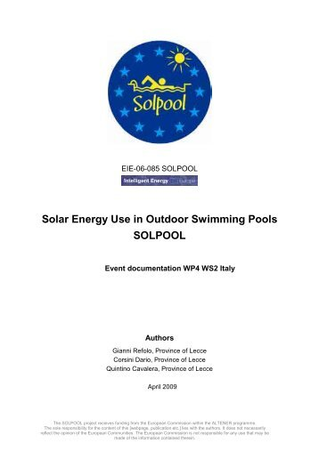 Solar Energy Use in Outdoor Swimming Pools SOLPOOL