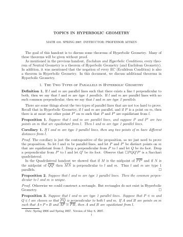 TOPICS IN HYPERBOLIC GEOMETRY The goal of this handout is to ...