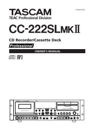 CC-222SLmkII Owner's Manual - Tascam