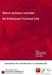 Nieuw product voorstel De Enhanced Covered Call - E-Giro