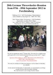 20th German Threewheeler-Reunion from 07th – 09th September ...