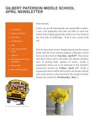 GPMS April Newsletter - Gilbert Paterson Community School