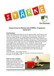 Unsere Kurse im Rahmen des STÄRKE –Programms Herbst 2011