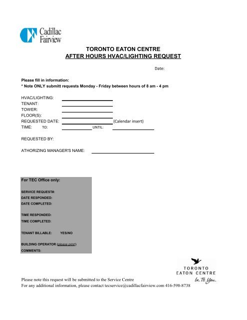 After Hours HVAC and Lighting Request Form - Eaton Centre Towers
