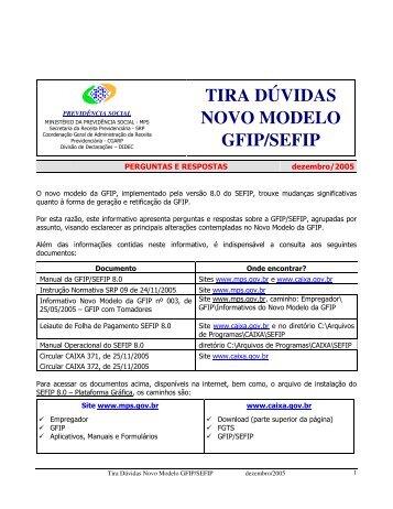TIRA DÚVIDAS NOVO MODELO GFIP/SEFIP - Veritae