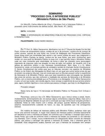 O Ministério Público no processo civil - Mazzilli