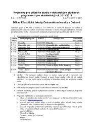 Podmínky pro přijetí ke studiu v doktorských ... - Filozofická fakulta