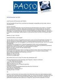 PAOSO-Newsletter April 2008 Liebe Freunde und Freundinnen des ...