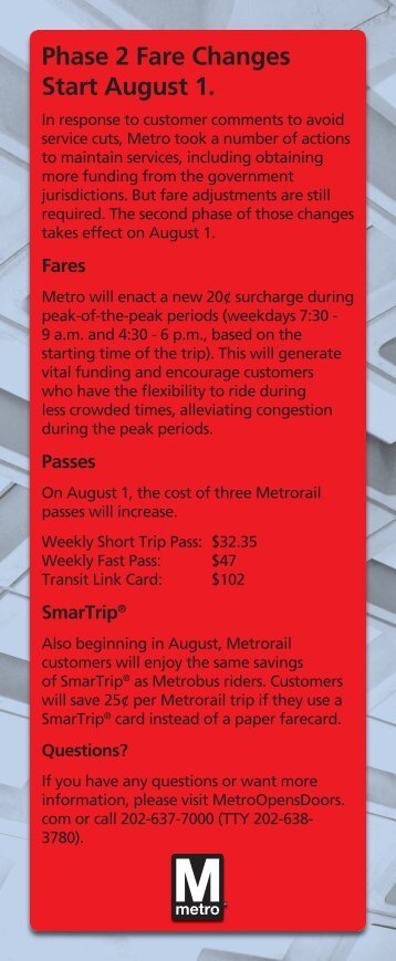 August changes takeone.indd - WMATA.com