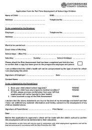 Part Time Employment of School Children - Oxfordshire County ...