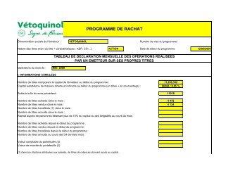 Programme de rachat - mai 2009