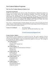Post Graduate Diploma Programme E-mail: ksanjaynujs@gmail.com