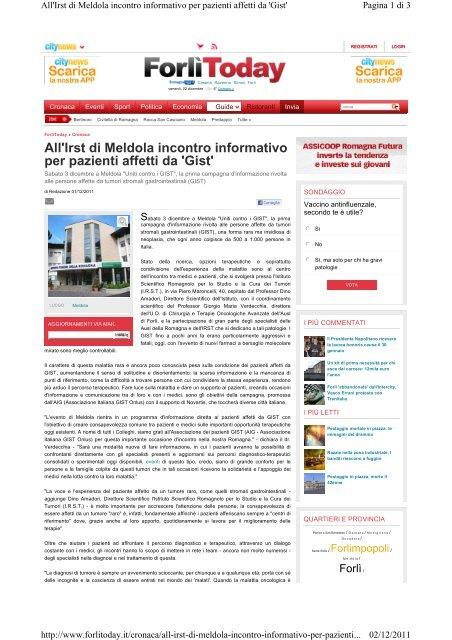 Articolo di Forlì Today - Associazione Italiana GIST