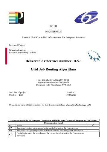 Grid Job Routing Algorithms - Phosphorus