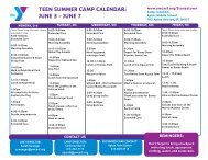 teen summer camp calendar - YMCA of San Francisco