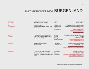 KULTURKALENDER 2006 BURGENLAND - Bundeskanzleramt ...