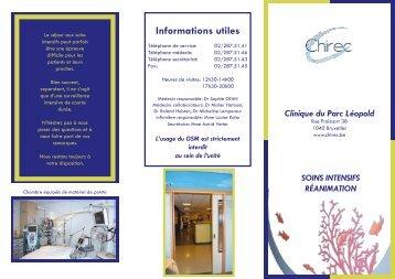 Brochure d'accueil Soins Intensifs Parc Léopold - Chirec