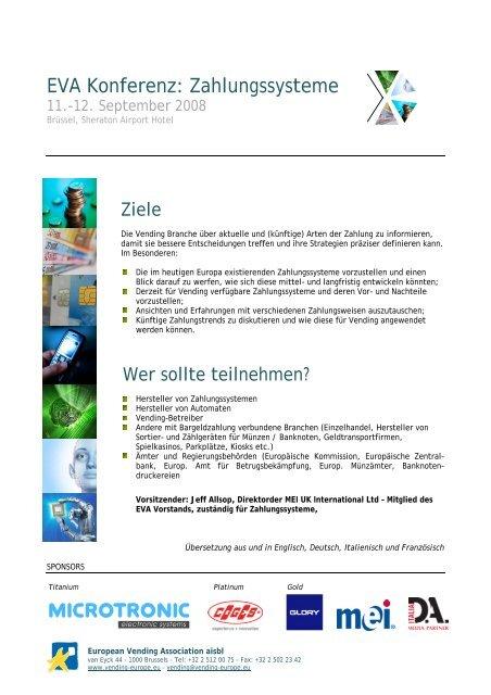 EVA Konferenz: Zahlungssysteme - European Vending Association
