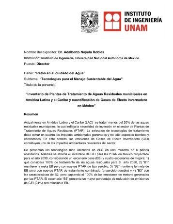 Nombre del expositor: Dr. Adalberto Noyola Robles Puesto ... - Cefim